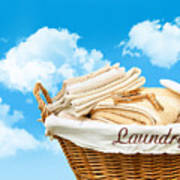 Laundry Basket  Against A Blue Sky Poster by Sandra Cunningham