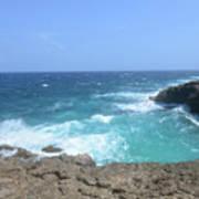 Lava Rock Cliffs And Crashing Ocean Waves In Aruba Poster