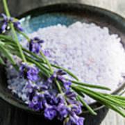 Lavender Bath Salts In Dish Poster