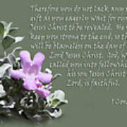 Lavender Sage Blossom I Cor. 1 V 7-9 Poster