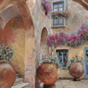Le Arcate In Cortile Poster by Guido Borelli