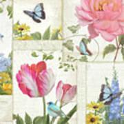 Le Petit Jardin - Collage Garden Floral W Butterflies, Dragonflies And Birds Poster