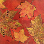 Leaf Prints And Zentangles Poster