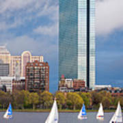Lean Into It- Sailboats By The Hancock On The Charles River Boston Ma Poster