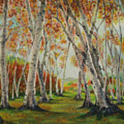 Leaning Birches Poster by Charles Hetenyi