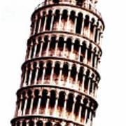 Leaning Tower Of Pisa  Sepia Digital Art Poster