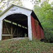 Leatherwood Station Covered Bridge Indiana Poster