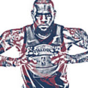 Lebron James Cleveland Cavaliers Pixel Art 54 Poster