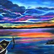 Left Alone A Seascape Boat Painting At Sunset  Poster
