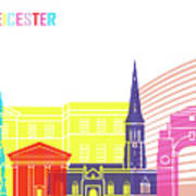 Leicester Skyline Pop Poster