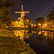 Leiden Windmill By Night Poster