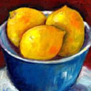 Lemons In A Blue Bowl Grace Venditti Montreal Art Poster
