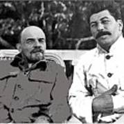Lenin And Stalin Circa 1923 Color And Drawing Added 2016    Poster