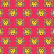 Leo Zodiac Sign Pattern Poster