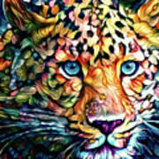 Leopard Cat Flowers Poster