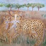 Leopard With Cub Poster