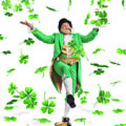 Leprechaun Tossing Shamrock Leaves Up In The Air Poster by Oleksiy Maksymenko