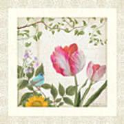 Les Magnifiques Fleurs I - Magnificent Garden Flowers Parrot Tulips N Indigo Bunting Songbird Poster