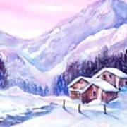 Swiss Mountain Cabins In Snow Poster