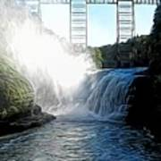 Letchworth State Park Upper Falls And Railroad Trestle Abstract Poster