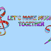 Let's Make Music - Blue Poster