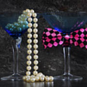 Lets Party Vintage Blue Martini Glasses On Black Sla Poster