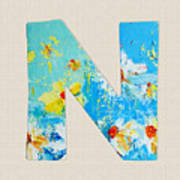 Letter N Roman Alphabet - A Floral Expression, Typography Art Poster