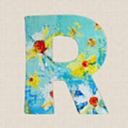 Letter R Roman Alphabet - A Floral Expression, Typography Art Poster