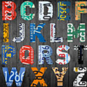 Letters Of The Alphabet Recycled Vintage License Plate Art With Apple Colorful School Nursery Kids Room Print Poster