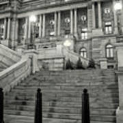 Library Of Congress In Black And White Poster