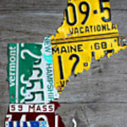 License Plate Map Of New England States Poster