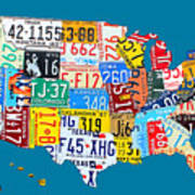 License Plate Map Of The Usa On Royal Blue Poster