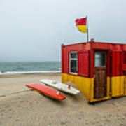 Lifeguard Station At Brittas Bay In Ireland Poster