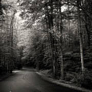 Light And Shadow On A Mountain Road In Black And White Poster