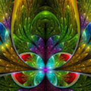 Lighted Flower Fractal Poster