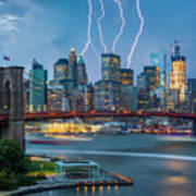 Lightening Striking Manhattan Poster