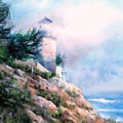 Lighthouse In The Mist Poster