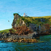 Lighthouse On Cliff Dunedin New Zealand Poster