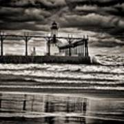 Lighthouse Reflections In Black And White Poster