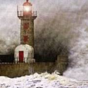 Lighthouse Weathering A Storm At Sea H A Poster