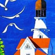 Lighthouse With Seagull Poster