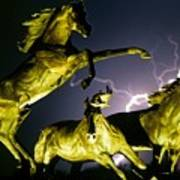Lightning At Horse World Fine Art Print Poster