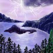 Lightning In Purple Clouds Poster