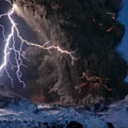 Lightning Pierces The Erupting Poster by Sigurdur H Stefnisson