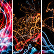 Lightpainting Triptych Wall Art Print Photograph 5 Poster