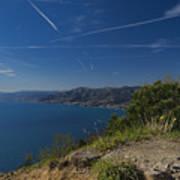 Liguria Paradise Gulf Panorama With Yellow Flowers Poster