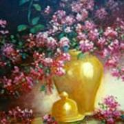 Lilacs In Gold Vase Poster