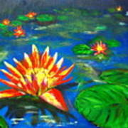 Lilies By The Pond Poster