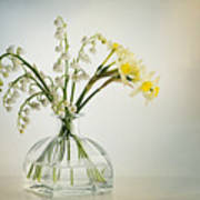 Lilies Of The Valley In A Glass Vase Poster