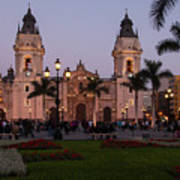 Lima Cathedral At Night Poster